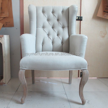 Antique Accent Fabric Tufted High Back Dining Wing Chair