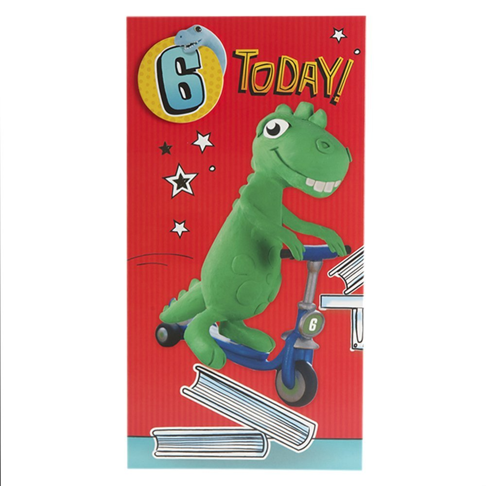 Hallmark Medium Slim For Him Kids Dinosaur Badge 6th Birthday Card