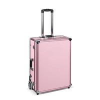 2018 HPL large rolling makeup station F9612P pink make up case with light mirror