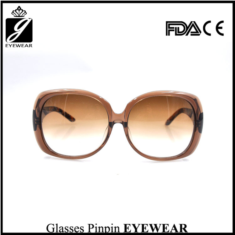 Fashion wholesale acetate glass large frame square sunglasses with mirror lens