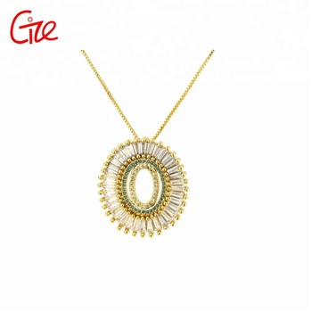 fashion zircon jewelry brazil round alphabet pendant necklace