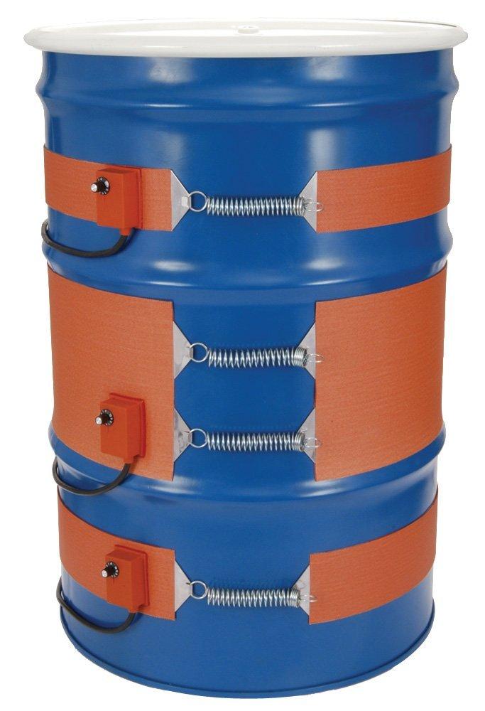 "Tempco DHR01017 Silicone Rubber Metal Drum Heater, 15 gal, 4"" Wide, 700W, 240V, Adjust T-Stat Range, 50/425 Degree F"