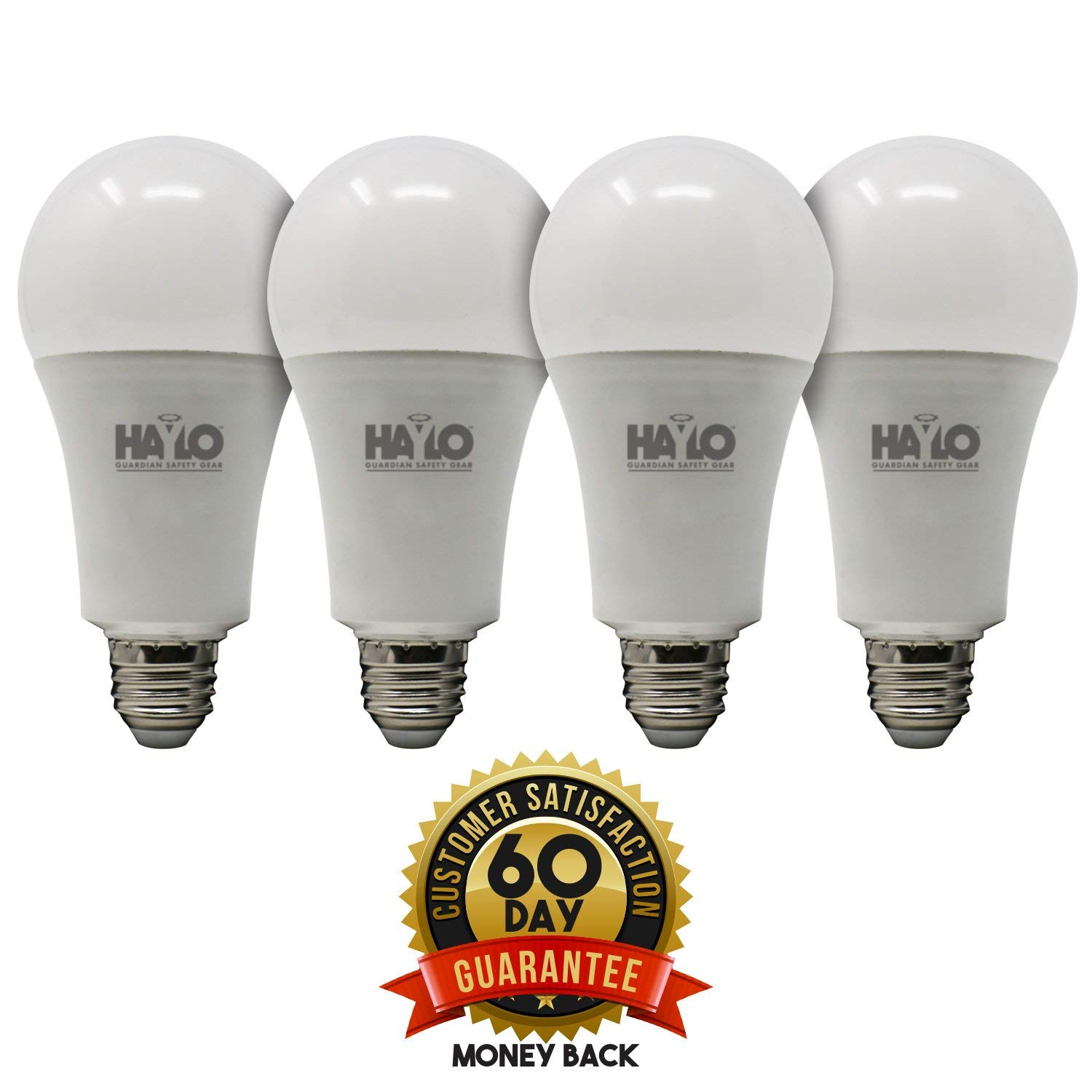HAYLO Emergency L.E.D Light 4 Pack Rechargeable Emergency LED Bulb Regular Use and Emergency Light for Power Outage Camping Outdoor Activity 3500K Hurricane 9W 120V 60W Equivalent