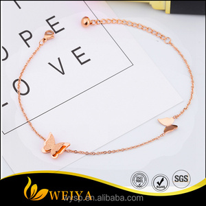 Fashion stainless steel rose gold jewellery butterfly anklets for girls