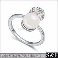 Crystal from Swarovski New Products Handmade Blank Pearl Ring For Inlay