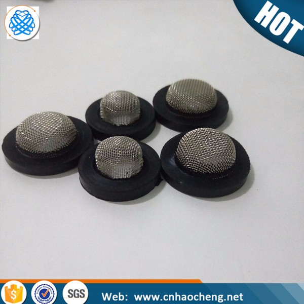 Bowl cap stainless steel mesh with rubber edge hose washer filter