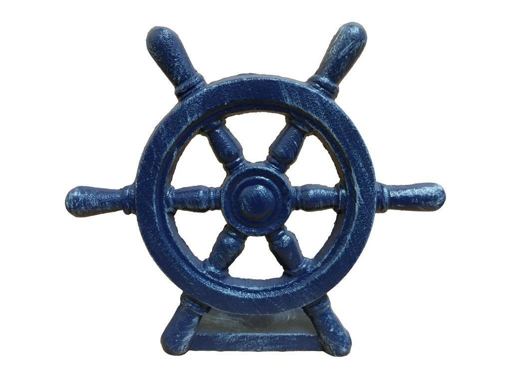 """Handcrafted Model Ships Rustic Dark Blue Cast Iron Ship Wheel Door Stopper 9\"""" - Door Decor - Nautical"""