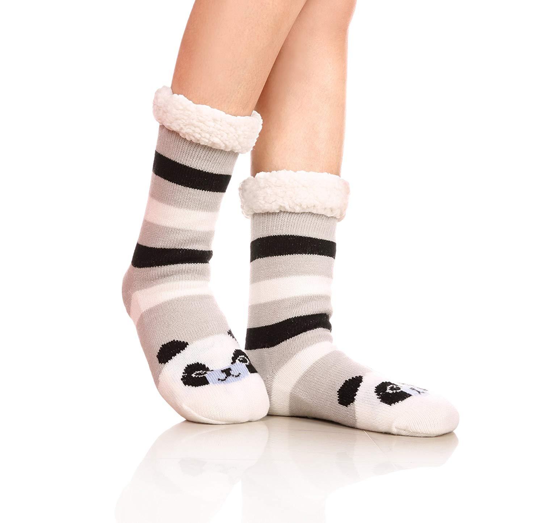 857c31a8120 Get Quotations · Womens Sherpa Winter Fleece Lining Knit Animal Socks Non  Slip Warm Fuzzy Cozy Slipper Socks