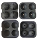 100% food grade 4 holes FDA approved Silicone sphere ice ball maker mould,silicone ice cube tray with lid