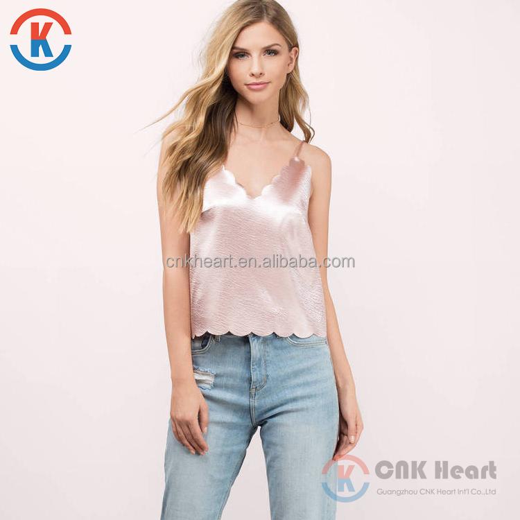 d0c8233676 2018 Moda senhora roupas mais recente rosa verão blusa regata de cetim