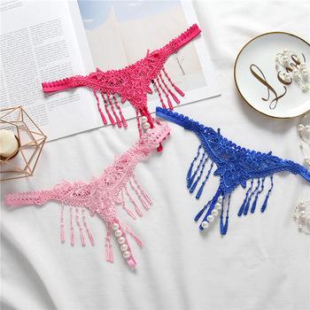 f48845552a5 Women Sexy Lace Underwear Pearl Thong Tassel Briefs Panties - Buy ...