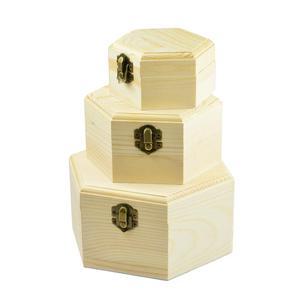 new concept a2464 e68de Hexagon Plain unfinished wooden jewellery cases / storage boxes