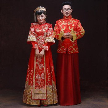 2018 fashion wedding bride groom red classic Chinese traditional Tang suit