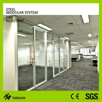 Office Partition Systems Mock Up High Glass Partition Wall Sliding