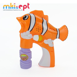 Hot selling fish soap bubble shooter gun toy with light and music