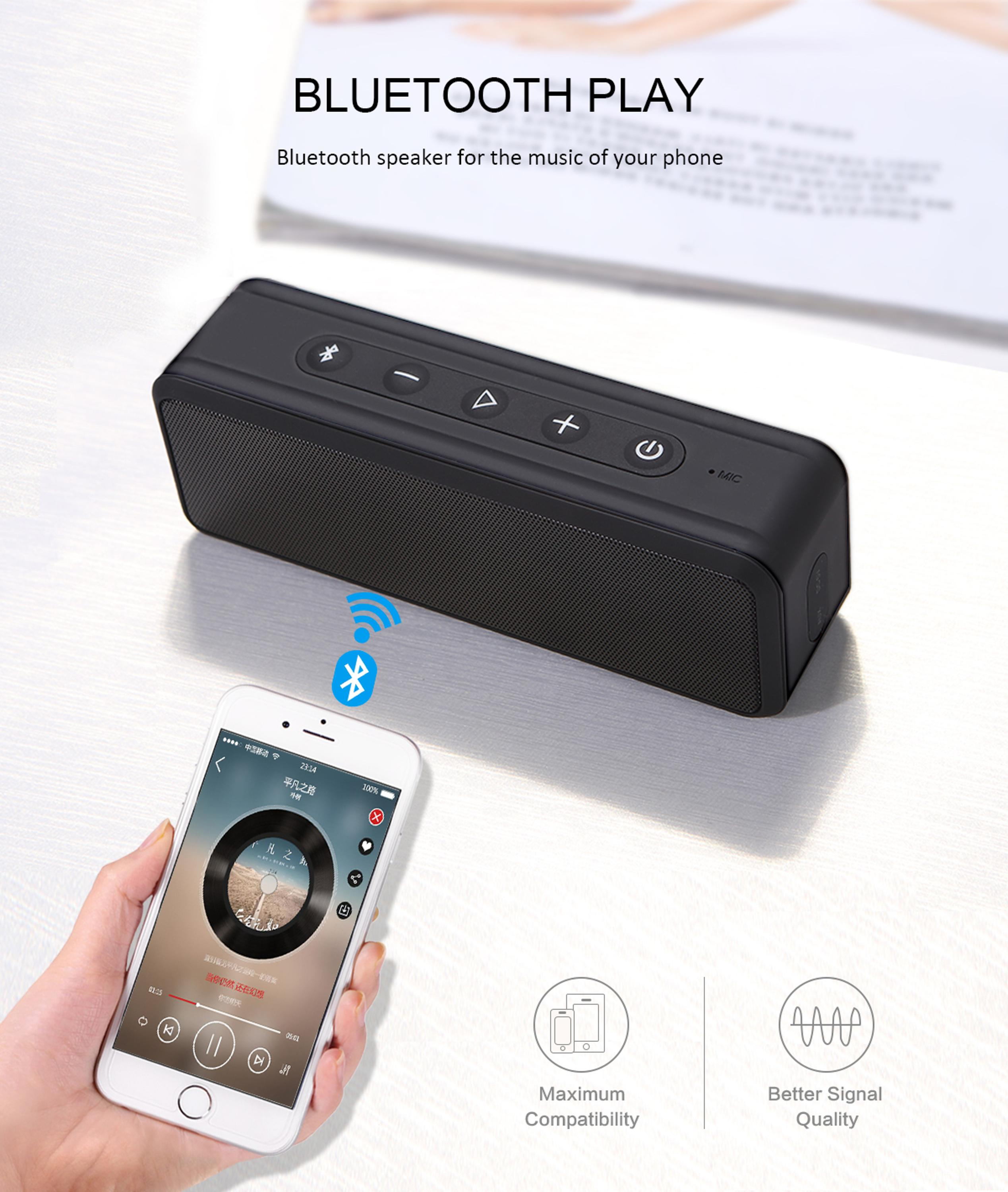 Bannixing 10W water proof bluetooth speaker with Dual 50W Drivers and Subwoofers