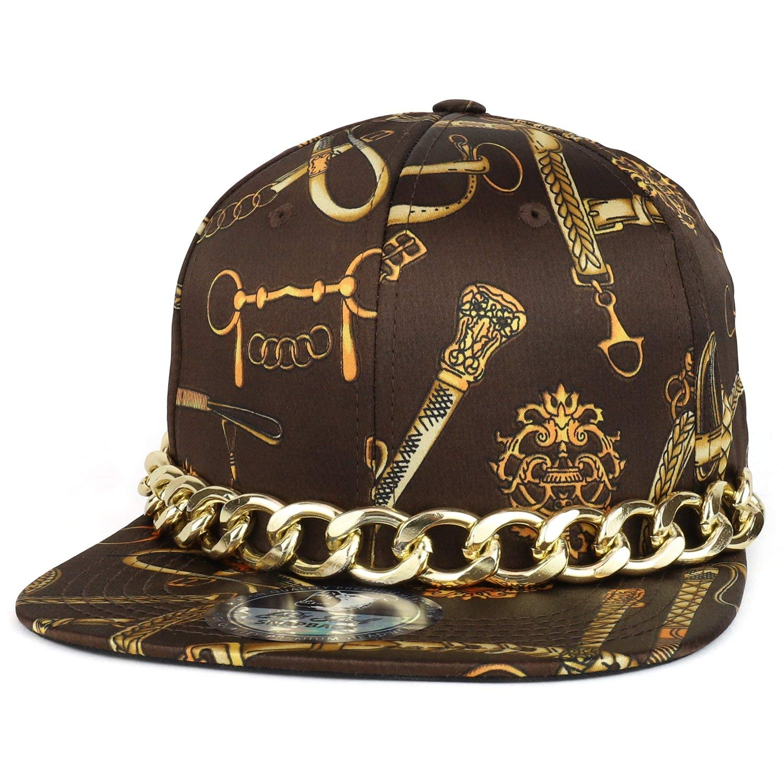 09f2c0078cf8 Trendy Apparel Shop Fashion Chain Belt Printed Hip Hop Flat Bill Snapback  Cap With Gold Chain