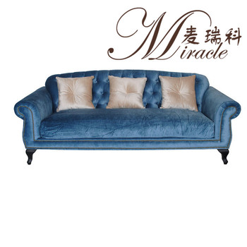French Style Antique Blue Color Velvet Fabric 3 Seats Living Room ...