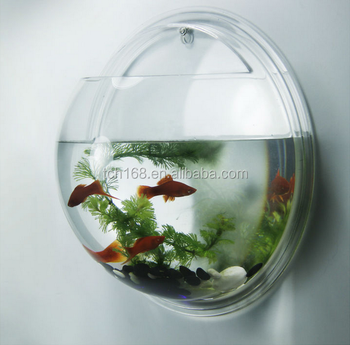 Clear Acrylic Wall Mount Round Fish Tank/small Plastic Fish Bowls ...