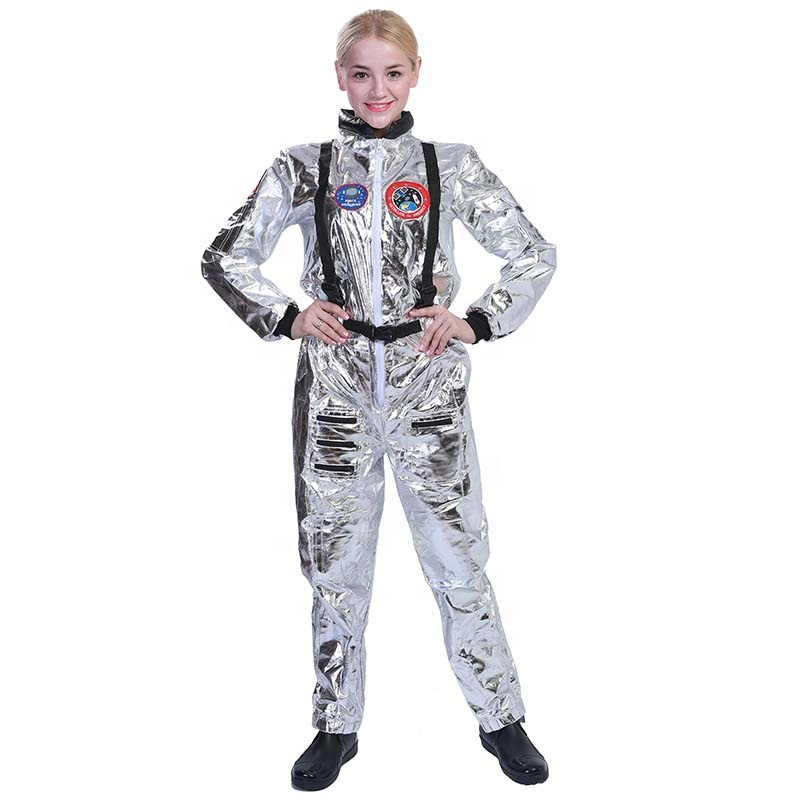New design Halloween spacewomen cosplay jumpsuit for carnival silver Astronaut costume for woman adult