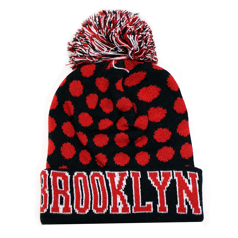 0d0f36b39285e2 Get Quotations · City Hunter Sk1150 Brooklyn Dots Pom Beanie Knit Hat -  Black/red