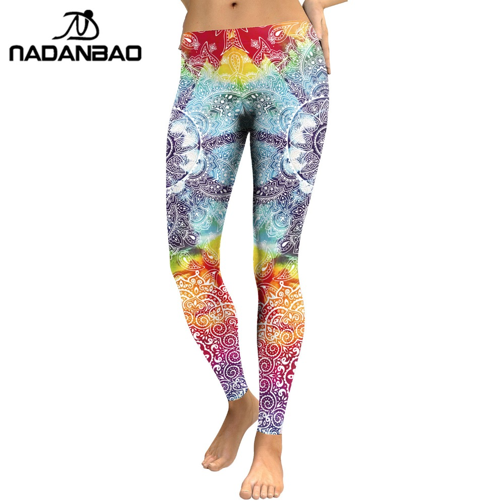 NADANBAO Brand OEM 3D printed leggings Mandala flower pattern custom sublimation leggings manufacturer