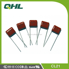 Professonal manufacturing CL21 polyester film DC capacitor/lamp capacitor 100nf 250V