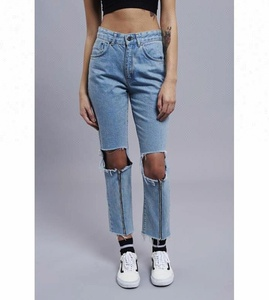 Royal wolf denim jeans manufacturer light blue busted knees scratch front zip mom jeans women