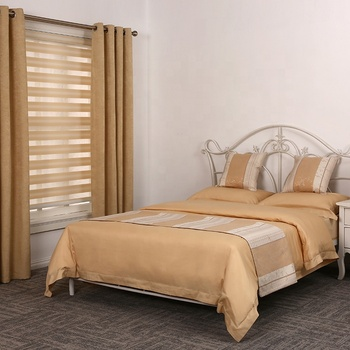 Fashion luxury yellow golden curtain with matching satin home set bedding