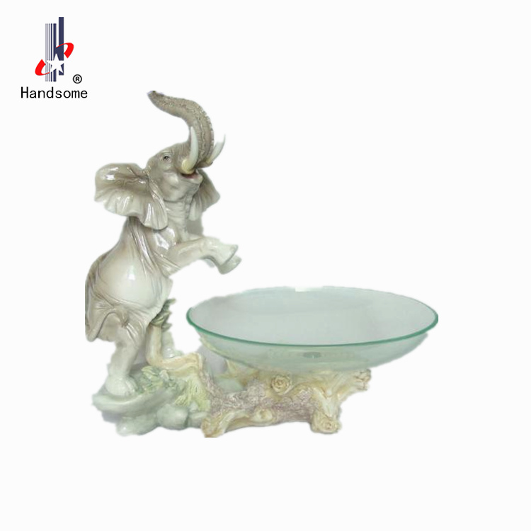 "13.5"" Hot sale Animal Elephant Unique Resin Fruit Bowl with Glass"