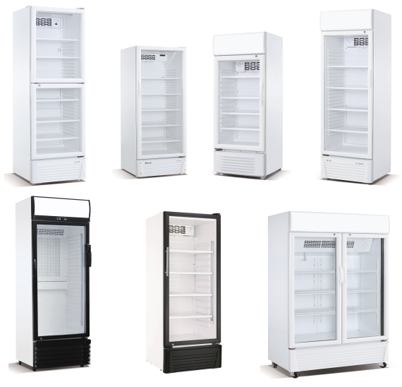 450L Supermarket Glass Door Cold Storage Beverage Display Vertical Freezer