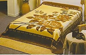 Solaron King Two-Ply Golden Floral Mink Blanket