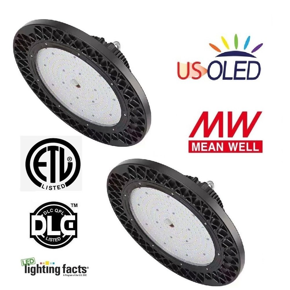 2 Pack US OLED 150W LED Dimmable High Bay UFO Light Fixtures,Lumileds LEDs,MeanWell Driver,138lm/W(Ultra Efficient),20780lm,5000K Daylight White,ETL DLC Listed,IP65 for Industrial Warehouse & High Bay