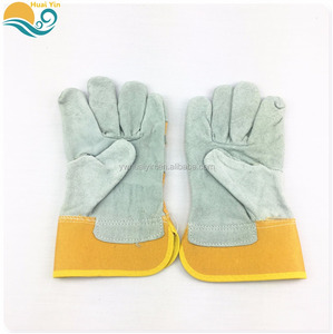 Huai Yin G18017L Wholesale Yellow Durable Anti-cutting Cow Split Leather Work Gloves Best Price Welding Gloves