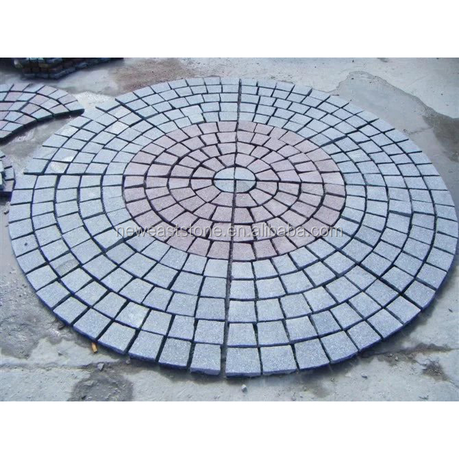 G654+G603 Fan-shape granite paving stone circle with net on the back