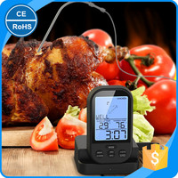 KH-0006 Black Color Remote BBQ Thermometer Grill Thermometer Wireless For Cooking Steak Meat
