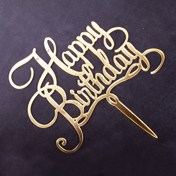 Amazing Golden Acrylic Wedding Happy Birthday Cake Topper Design Buy Personalised Birthday Cards Beptaeletsinfo