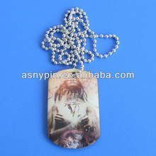 full color printed aluminum epoxy dogtag with chain