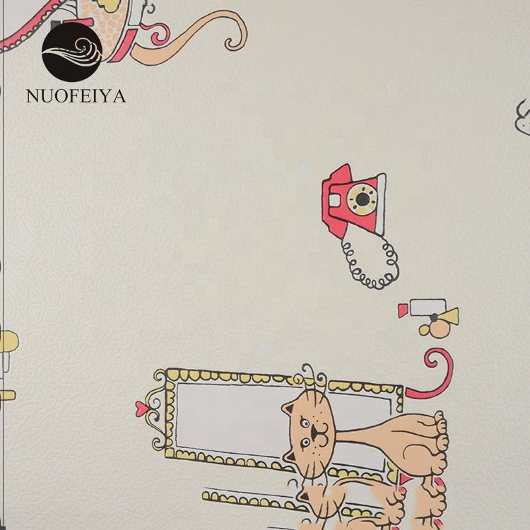 Ds18121 Nuofeiya Non Woven Back Washable Kids Children Baby Bedroom Elephants Cartoon Design Wallpaper With Borders Buy Wallpaper Baby Kids Children
