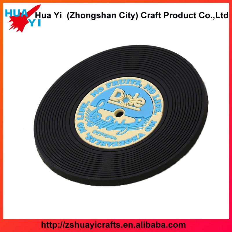 Professional Customized 3D Vinyl record Airplane PVC Rubber Coffe Tea Coaster for Souvenir - HuaYi Crafts Factory