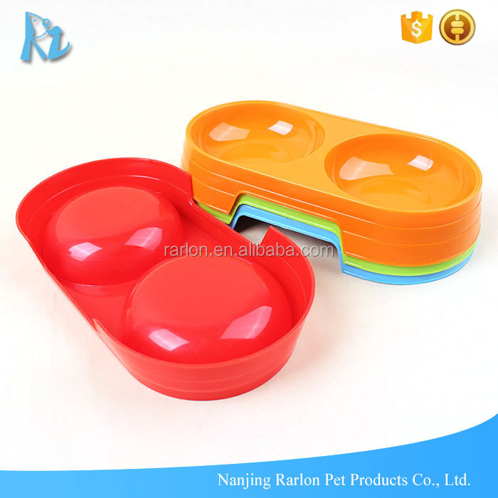 Dog Food Water Bowls Plastic Double Pet Bowls