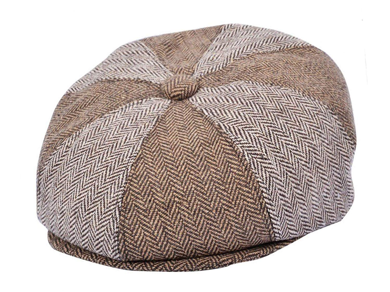 f65256ea98f The Hat Shop Wool Herringbone Multi Patchwork Newsboy Cap
