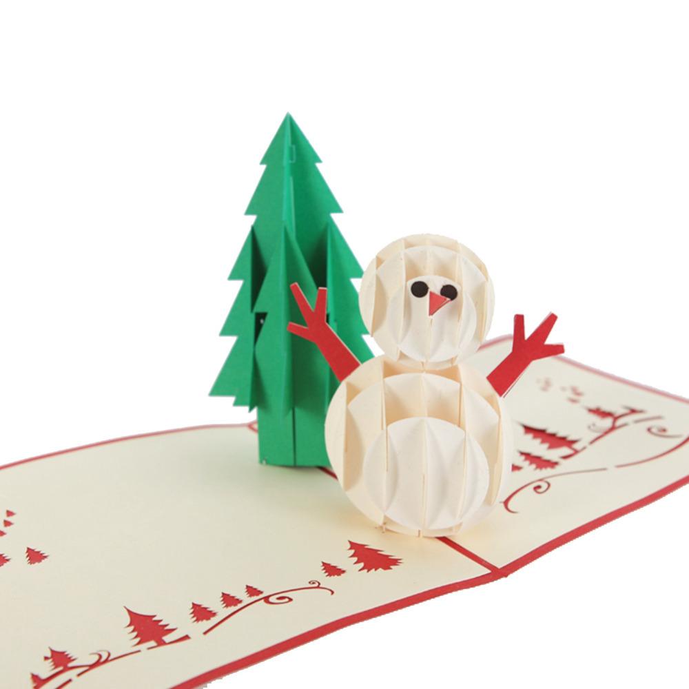Buy 3D Christmas Tree & Snowman Handmade Creative Kirigami &amp ...