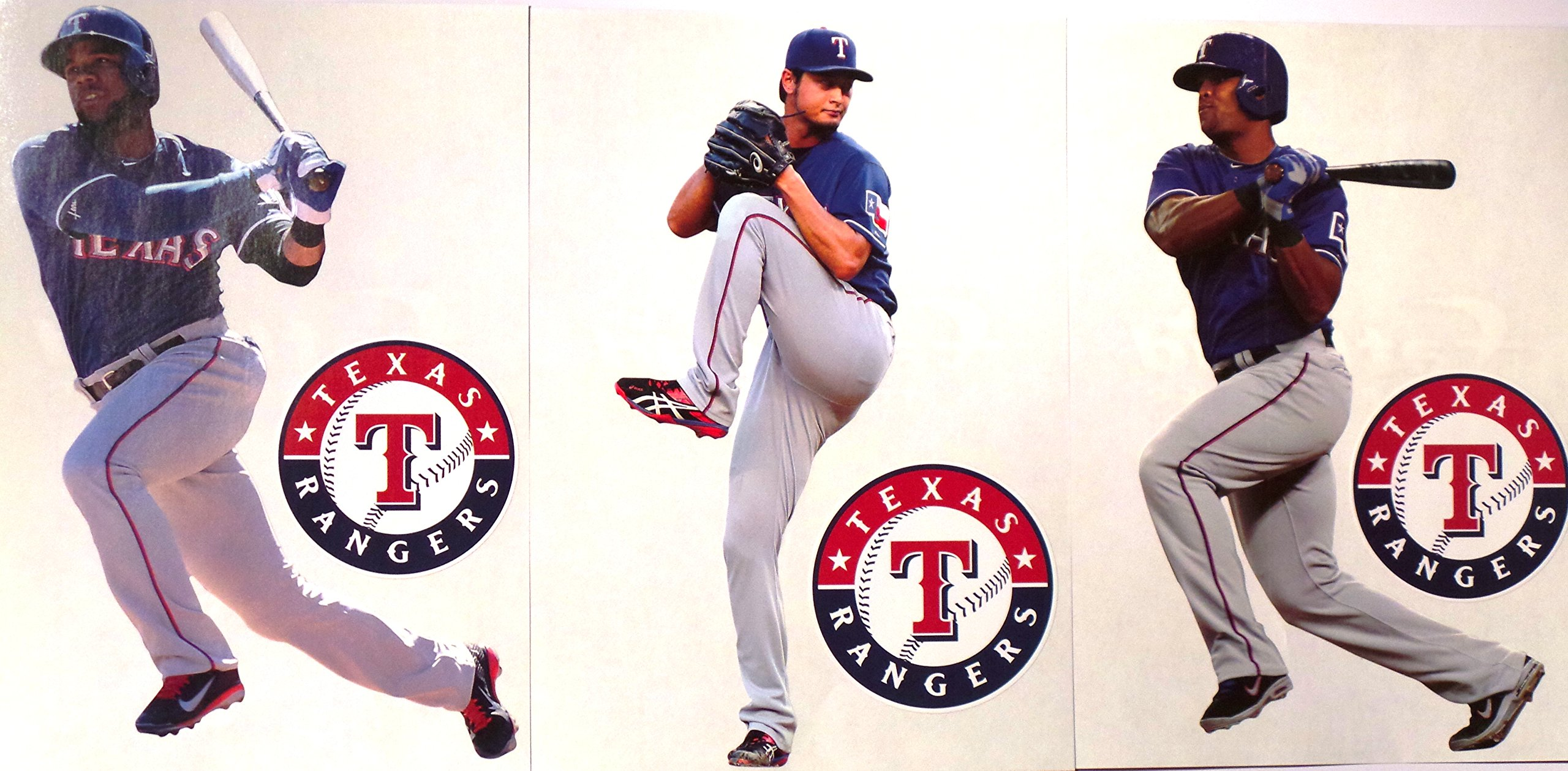 """Texas Rangers FATHEAD Team Set of 12 Official MLB Vinyl Wall Graphics (6 Players + 6 Rangers Logo). Each Player Graphic is 7"""" INCHES TALL"""
