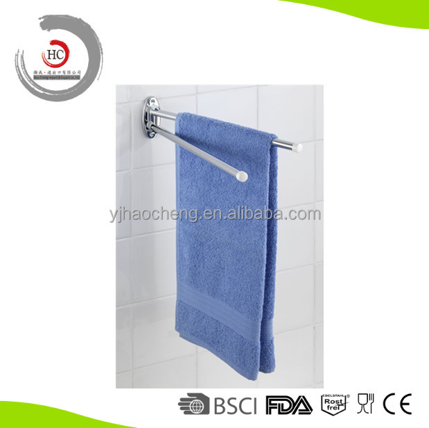 Stainless Steel Double Swing Towel Bar Bathroom Series Towel Rail