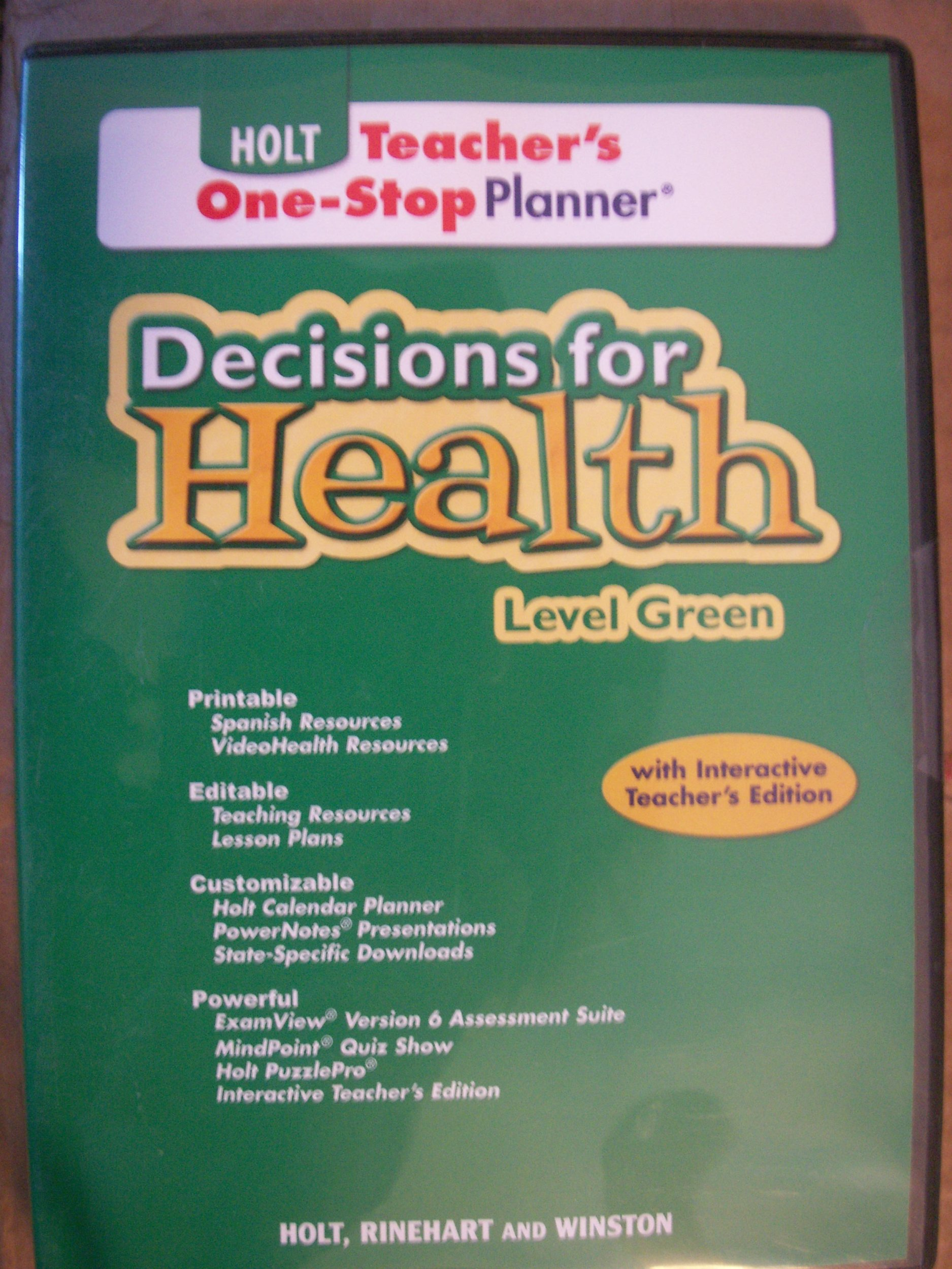 Holt Teacher's One-Stop Planner Decisions for Health Level Green