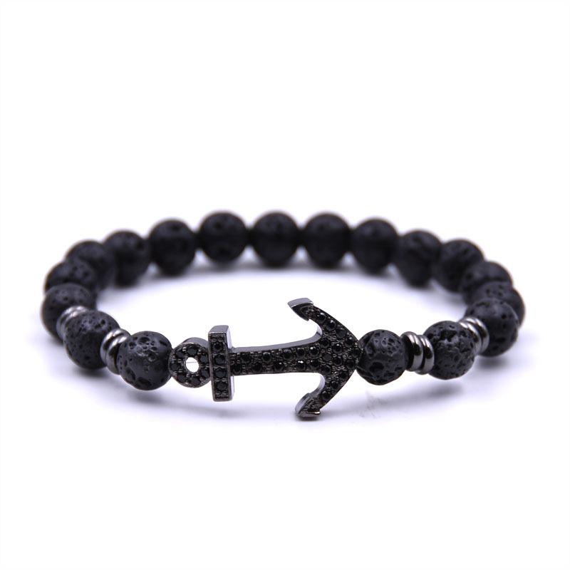 2019 Latest Men's Natural Volcanic Lava Stone Diffuser Bracelet Silver Black Color Micro Pave CZ Anchor Charm Bracelet