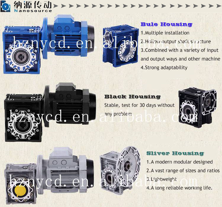 Aluminum Alloy Worm Gear Gearbox NRV for Food Stuff , hollow shaft speed reducer