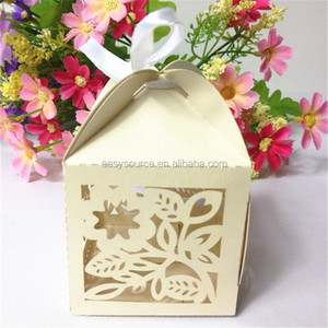 laser cutting personalized wedding favor box butterfly flower hollow candy box