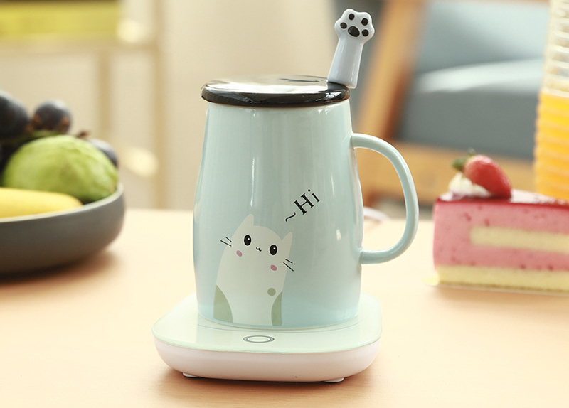 Wholesale Cat Ceramic Cup  Large Capacity Cute Coffee Ceramic Mug with Spoon Cartoon Ceramic Mug